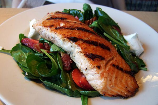 7 Swans a Swimming: Paprika Salmon over Spinach