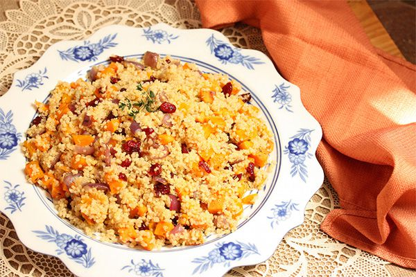 Quinoa with Butternut Squash, Cranberries, and Pecans